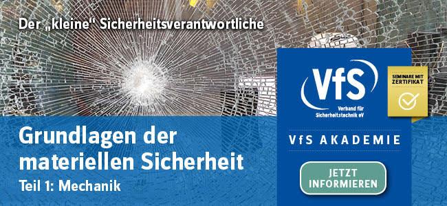 VfS Akademie Einladung zum Seminar Grundlagen der materiellen Sicherheit - Teil 1 Mechanik